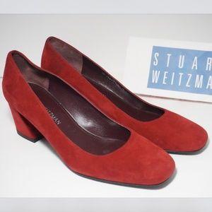🆕Stuart Weitzman Block Heel Pumps Red Suede